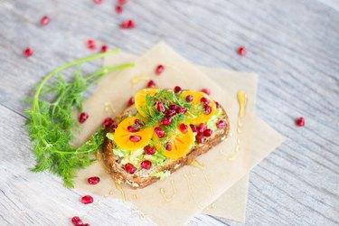 Persimmon and Pomegranate Avocado Toast