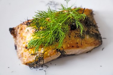 Salmon fish that's been grilled in the oven