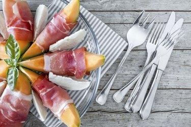 Prosciutto-wrapped cantaloupe