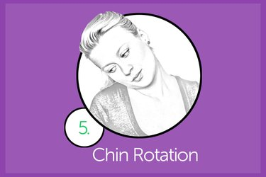Woman performing chin rotation exercise.