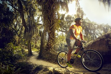 Riding for cardio on the trails at Carter Park near his home in Florida.