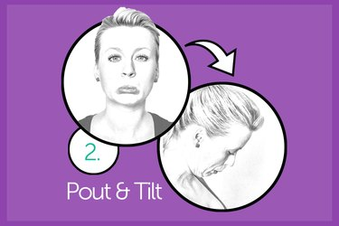 Woman performing pout and tilt chin exercise.