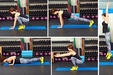 Woman demonstrating how to do burpees