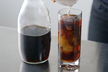 Cold-brew iced coffee with milk