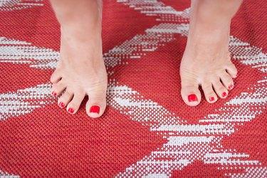 Woman Doing Active Toe Spreading Exercise for Shin Splints