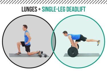 Man demonstrating how to do lunges and single-leg deadlifts as a superset