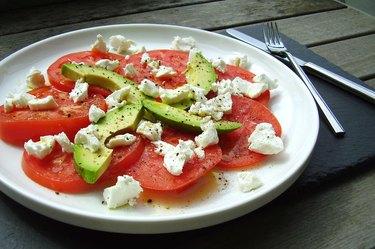Tomato, goat cheese and avocado salad
