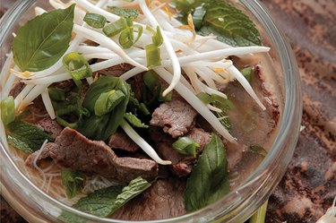 This beef pho uses shirataki noodles, which are low in calories, carb and fat.