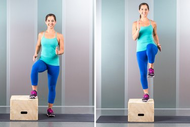 Woman performing step up exercise.