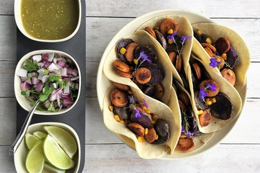Purple Potato and Chicken Chorizo Tacos