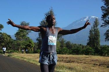Man running the Kilimanjaro Marathon