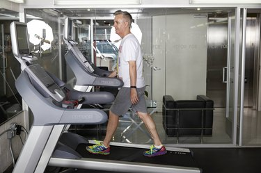 Ed uses the treadmill aggressively on the weekend as part of his plan.