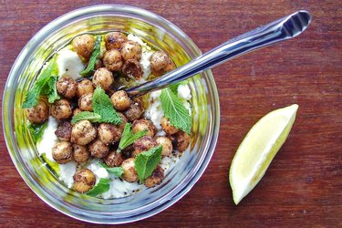 Yogurt topped with chickpeas