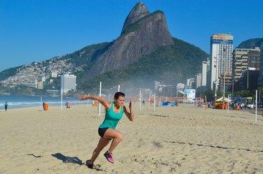 Woman Demonstrating Sand Sprinting
