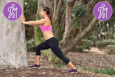 Woman Doing Standing Calf Stretch to Prevent Injury