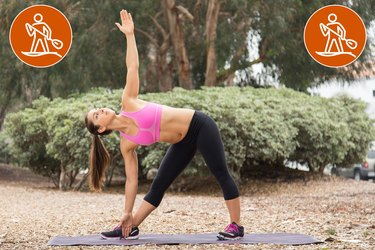 Woman Doing Triangle Pose to Prevent Injury