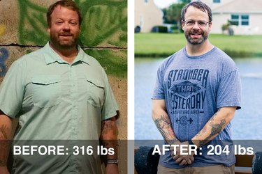 Taylor lost 112 pounds and dropped 7 sizes.