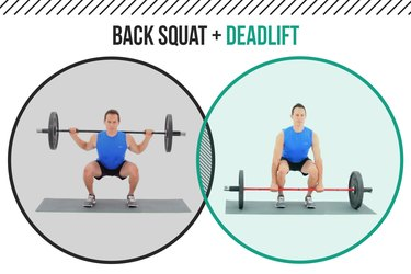 Man demonstrating how to do back squats and deadlifts as a superset