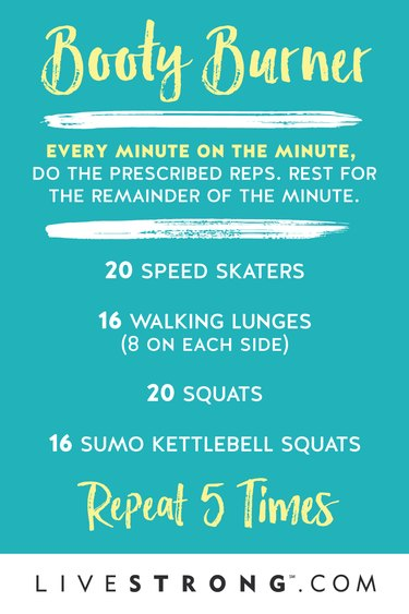 Graphic detailing Booty Burner HIIT workout to burn calories