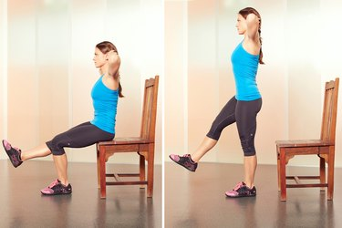 Woman Demonstrating Single-Leg Prisoner Squats in Her Hotel Room