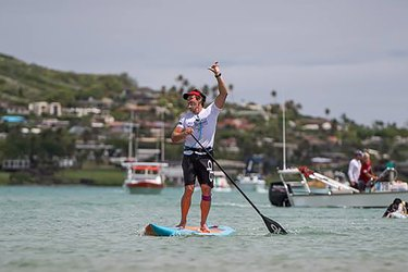Paddlboarder during Molakai2Oahu Paddleboard Race