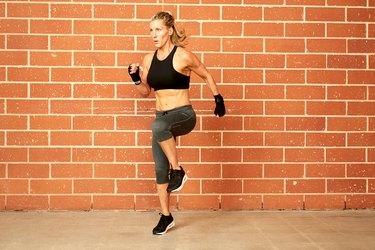sprinting (or high knees)
