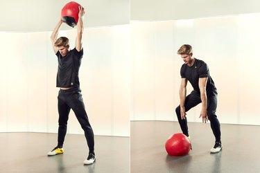 Man Demonstrating How to Do a Medicine Ball Slam