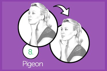 Woman performing pigeon double chin exercise.