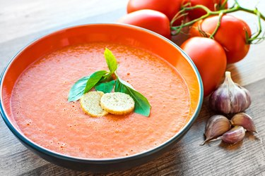 Chilled gazpacho soup with tomatoes and cucumber