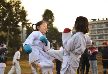 Even children can enjoy the benefits of kickboxing.