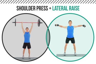 Man demonstrating how to do barbell shoulder presses and lateral shoulder raises as a superset