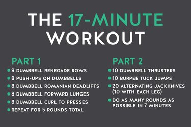 Workout graphic explaining how to do this 17-minute HIIT workout with dumbbells