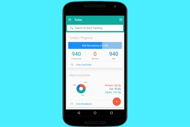 A weight-loss app shown on a smartphone, on a bright blue background