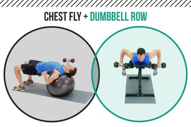 Man demonstrating how to do a chest fly and supported dumbbell row as a superset