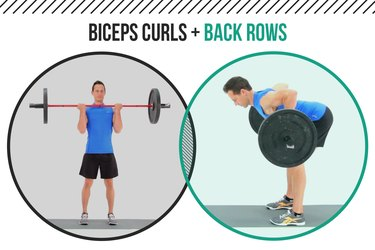 Man demonstrating how to do a biceps curl and back row as a superset