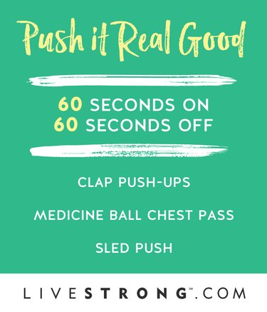 Graphic detailing the Push it Real Good HIIT workout to burn calories