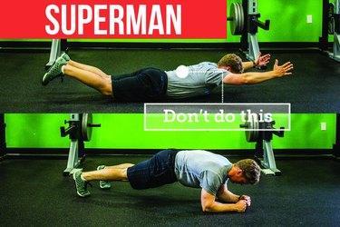 Man doing Superman and plank exercises