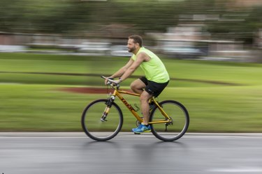 Evan still enjoys riding his bike for exercise when his schedule allows.