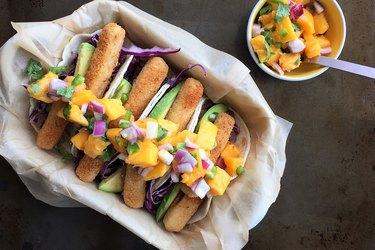 Cajun Fish Sticks Tacos With Mango Salsa