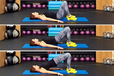 Woman demonstrating how to do spinal roll-ups