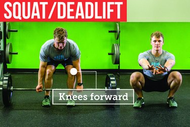 Man doing a squat and deadlift with proper form to prevent back pain