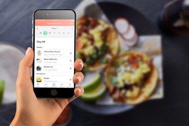 tracking food from a smartphone based on a meal plan by MyPlate Calorie Tracking app as part of the STRONGER Challenge