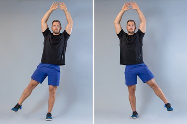Man performing jumping jacks modification for knee pain