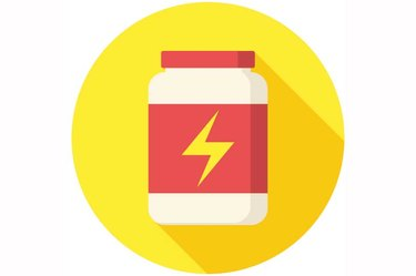 An illustration of a bottle of supplements with a lightning bolt on the label