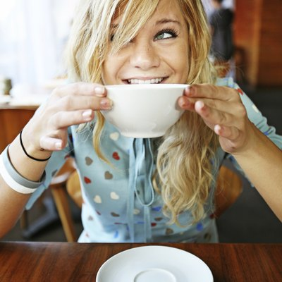 Smiling Girl Eating Miso Soup