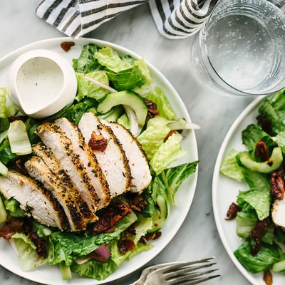 chicken breast on salad