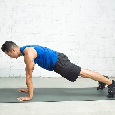 Blaine Strong demonstrating proper push-up starting position