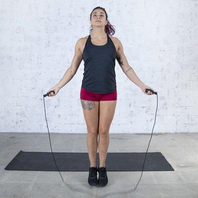 Jordan Shalhoub Doing a Jump Rope Cardio + Body-Weight Strength Workout