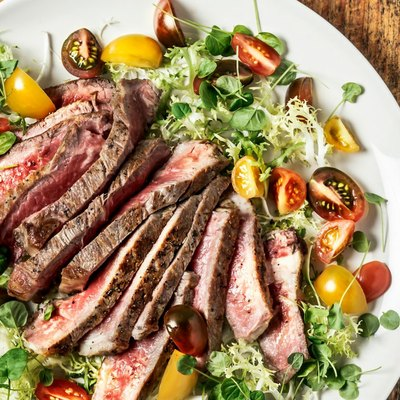 steak salad on a plate