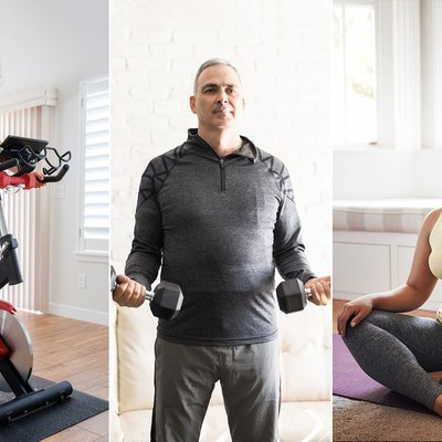 people doing different at-home workouts with bike, weights, and yoga mat